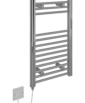 5060069429285 Kudox Electric Towel Rail Straight Standard 400mm x 700mm Chrome COCP 1