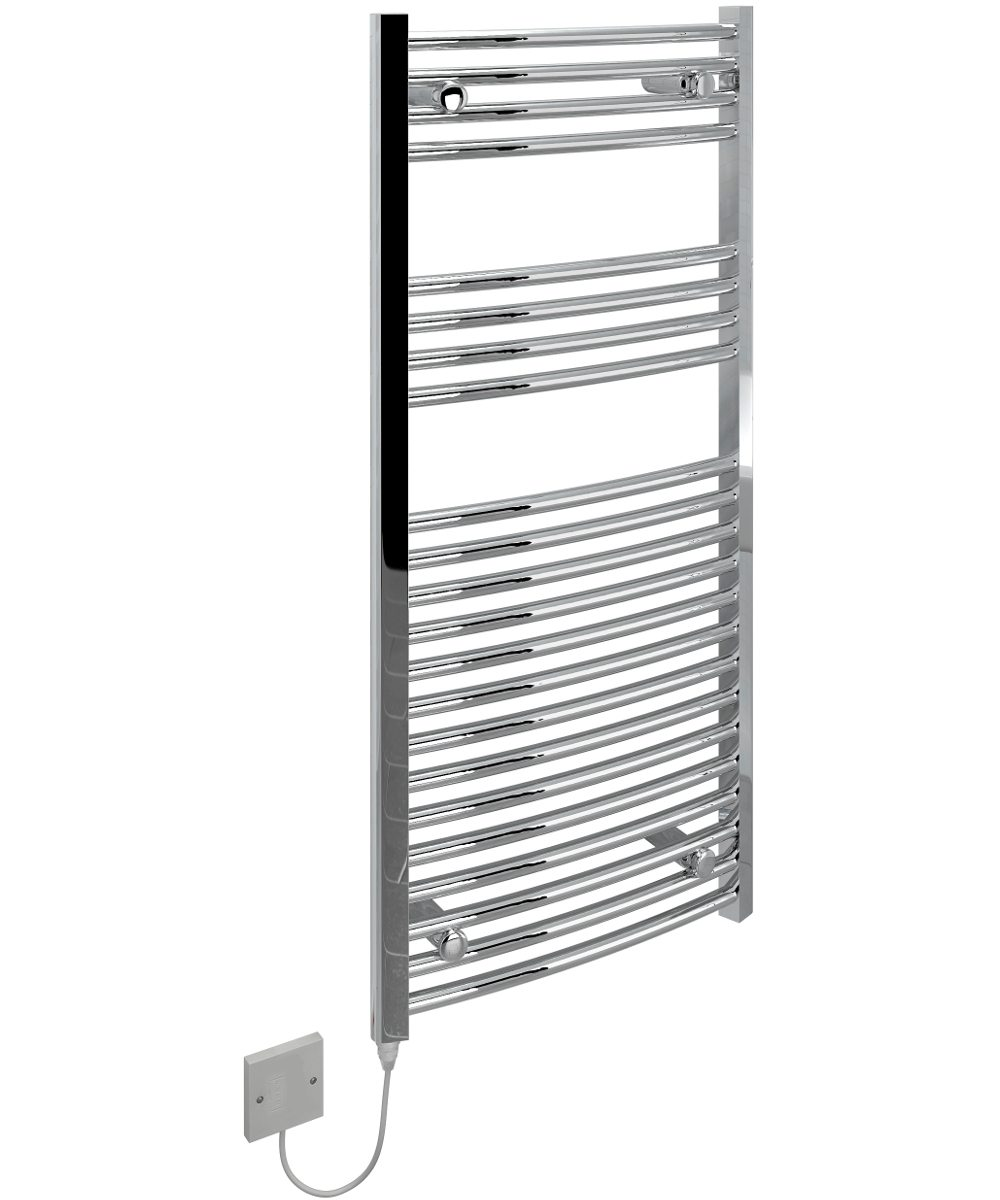 5060069429308 Kudox Electric Towel Rail Curved Standard 500mm x 1100mm Chrome IH 1