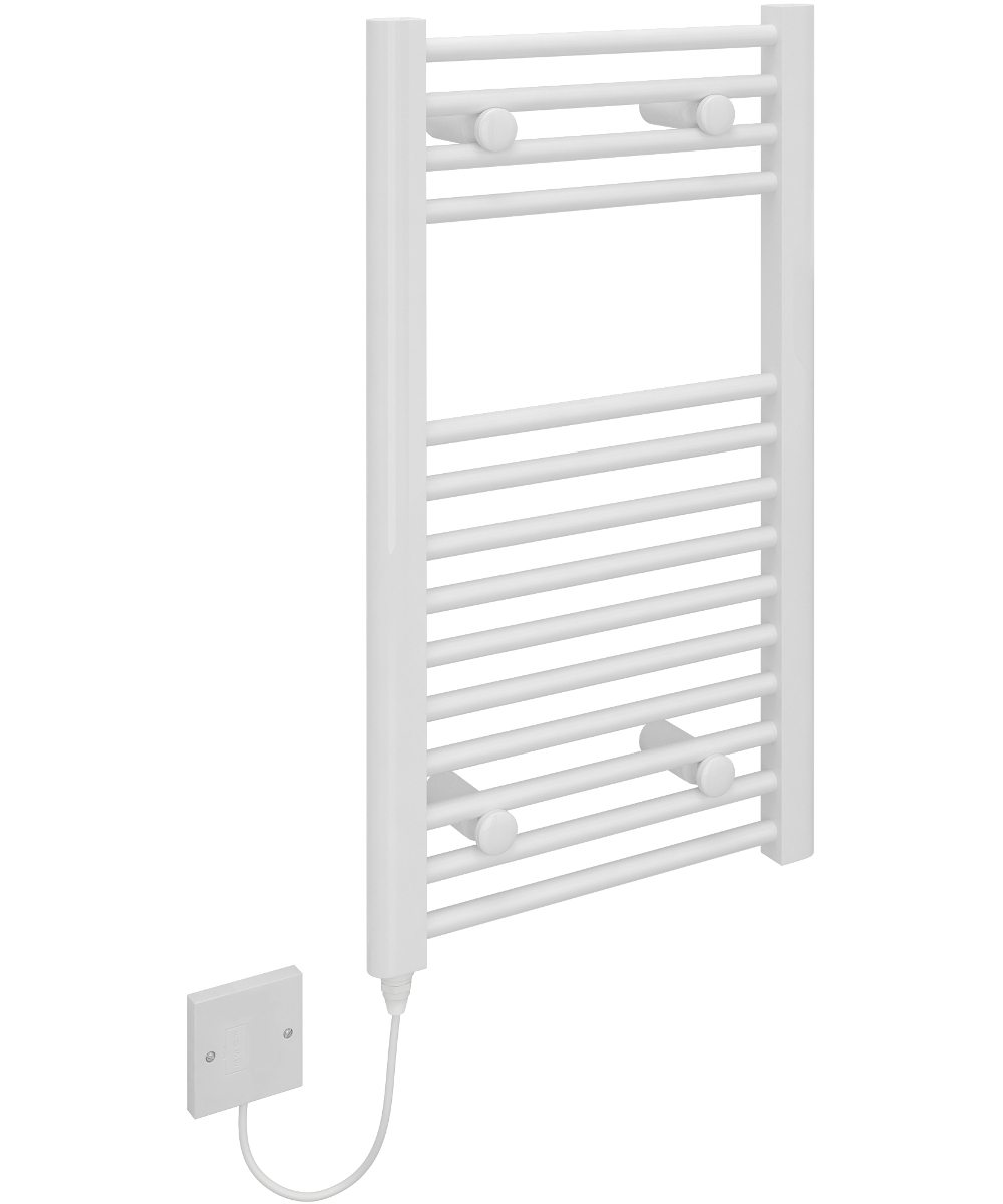 5060235345272 Kudox Electric Towel Rail Straight Standard 400mm x 700mm White IH 1