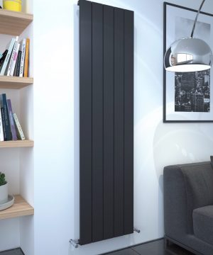 5060235348679 Kudox AluLite Flat Radiator 1800mm x 470mm Textured Black IS1