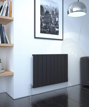 5060235348693 Kudox AluLite Flat Radiator 600mm x 850mm Textured Black IS1
