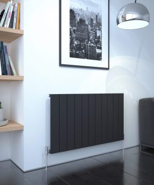 5060235348716 Kudox AluLite Flat Radiator 600mm x 1040mm Textured Black IS1