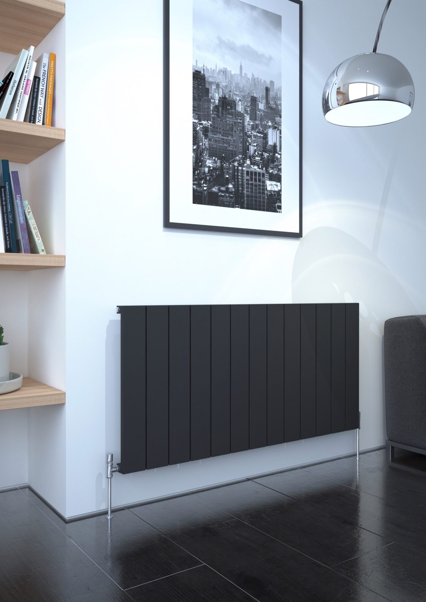 5060235348730 Kudox AluLite Flat Radiator 600mm x 1230mm Textured Black IS1